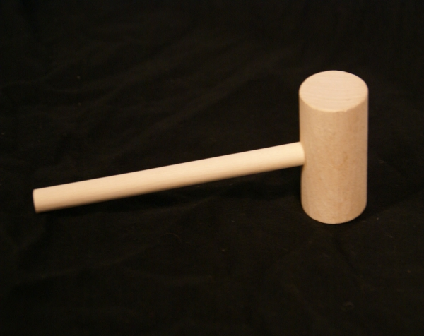 Wood mallet with a long, thin handle