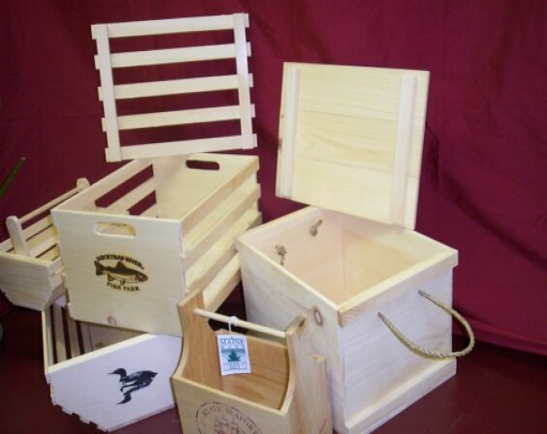 Variety of custom wood boxes and crates.